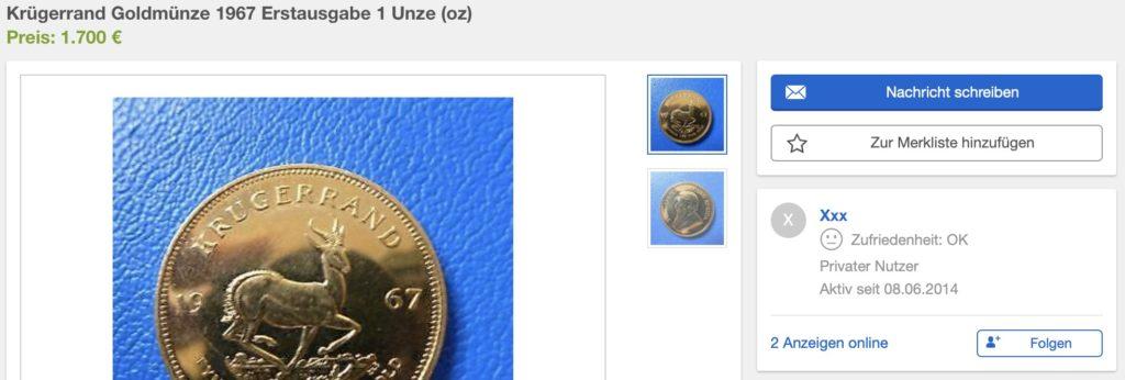 Screenshot von Ebay Kleinanzeigen – Verkäufer 1