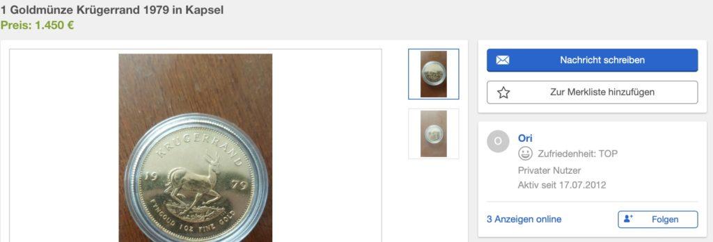 Screenshot von Ebay Kleinanzeigen – Verkäufer 2
