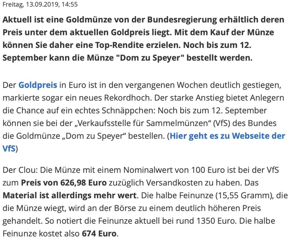 Goldmünze günstiger –Focus Online berichtet