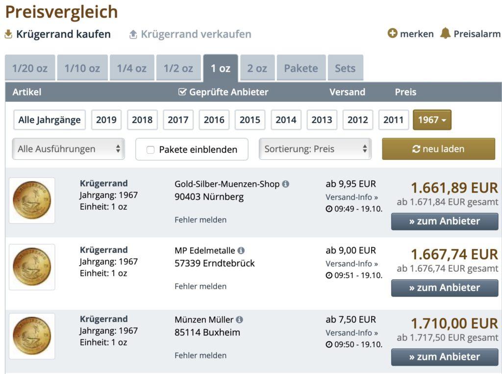 Screenshot von gold.de